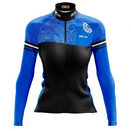 Camisa Ciclismo Mountain Bike Feminina Mandala Azul MOD 70