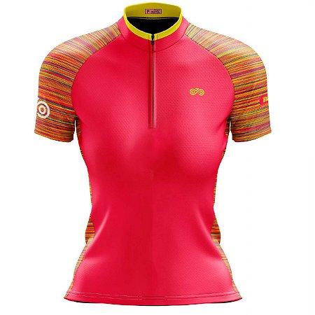 Camisa Ciclismo Mountain Bike Feminina Rosa Riscos