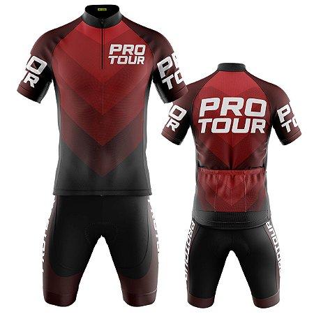 Conjunto Masculino Ciclismo Mountain Pro Tour Vermelho