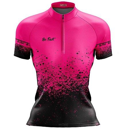 Camisa Ciclismo Mountain Bike Feminina Rosa Pingos