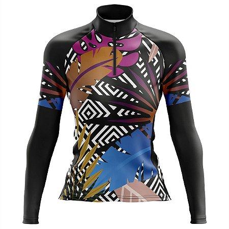 Camisa Ciclismo Mountain Bike Feminina Pro Tour Tropical Manga Longa dry fit