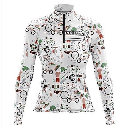 Camisa Ciclismo Mountain Bike Feminina Pro Tour Acessórios Manga Longa