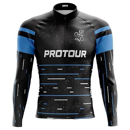 Camisa Ciclismo Mountain Bike Manga Longa Pro Tour Black