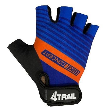 Luva Ciclismo 4trail Antiderrapante Dedo Curto Concept azul