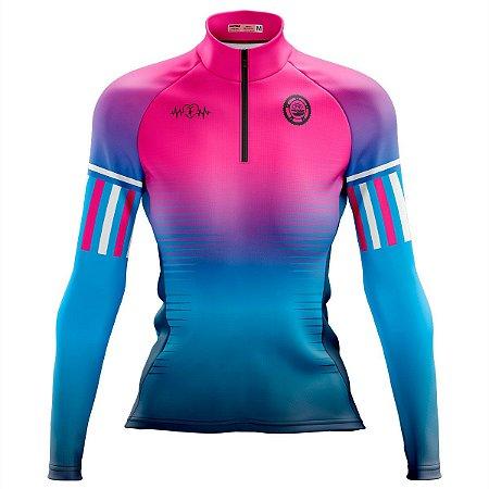 Camisa Ciclismo MTB Feminina Pro Tour Espinhos Degradê Dry Fit UV+50