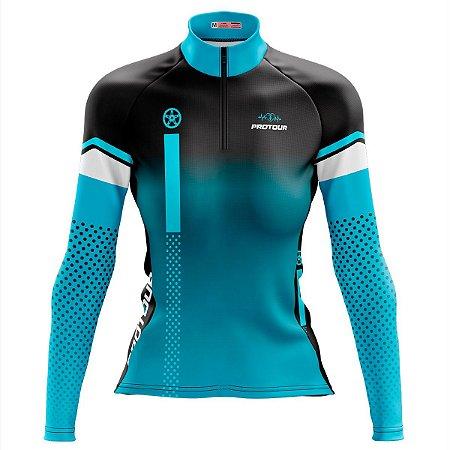 Camisa Ciclismo MTB Feminina Pro Tour Coroa Degradê dry fit proteção uv +