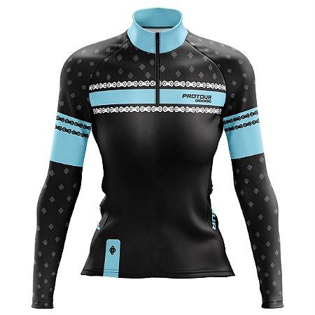 Camisa Ciclismo Mountain bike Feminina Pro Tour Elos Pretos dry fit proteção uv+50