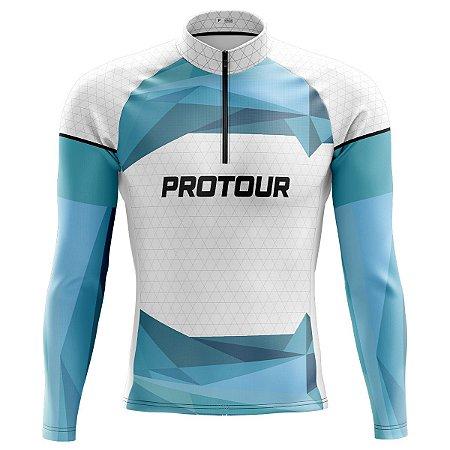 Camisa Ciclista Manga Longa Masculina Pro Tour Céu Dry Fit Proteção uv+50