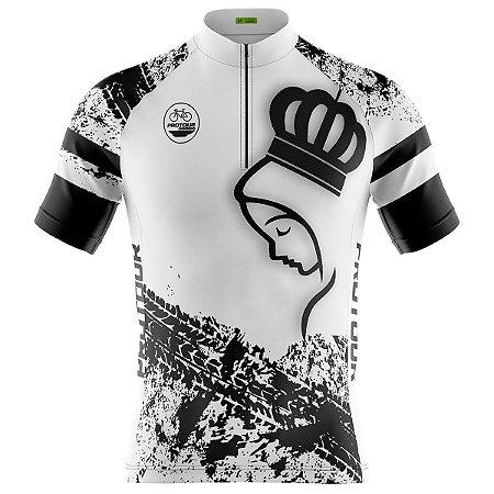 Camisa Ciclismo Masculina Mountain bike Pro Tour Romaria Branca dry fit proteção uv+50