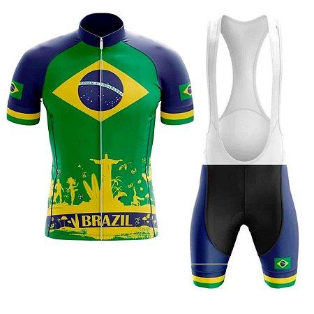 Conjunto Ciclismo Bretelle e Camisa Brasil Forro em Gel