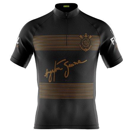 Camisa Ciclismo Mountain Bike preta com dourado