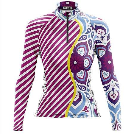 Camisa Ciclismo Feminina Mountain Bike Mandala Rosa