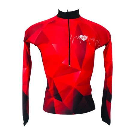 Camisa Feminina M.Longa Ciclismo MTB Speed Coração Bike