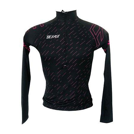 Camisa Feminina M.Longa Ciclismo Passeio Ciclo Turismo Giz Rosa