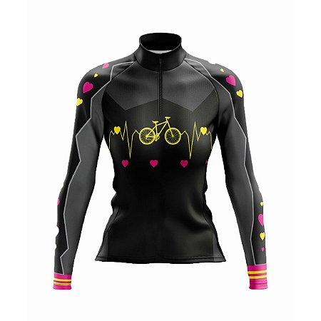 Camisa Ciclismo Mountain Bike Feminina Manga Longa Bike Coração
