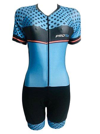 Macaquinho Ciclismo Feminino PRO TOUR Azul Bolinhas Forro em GEL
