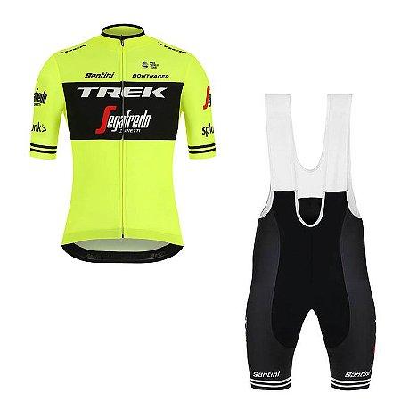 Conjunto Ciclismo Mountain Bike Bretelle e Camisa Trek Segadrefo Forro em Gel