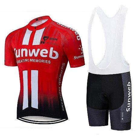 Conjunto Ciclismo Bretelle e Camisa Sunweb 2019