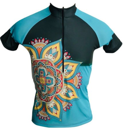 Camisa Ciclismo MTB Feminina Mandala Azul