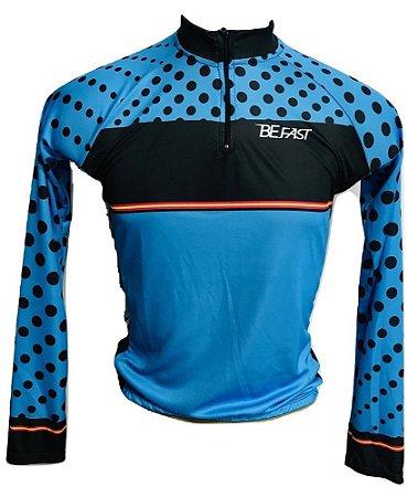 Camisa Ciclismo MTB Feminino Azul Bolinhas