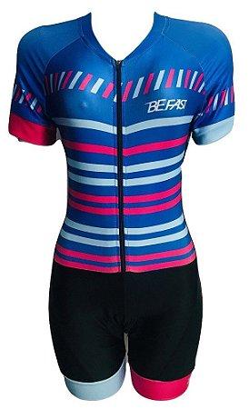 Macaquinho Ciclismo Feminino PRO TOUR Azul Colors Forro em GEL