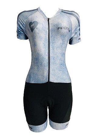 Macaquinho Ciclismo Feminino PRO TOUR Jeans Forro em GEL