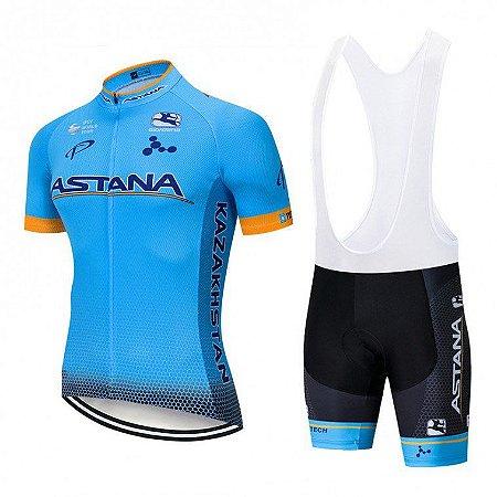 Conjunto Ciclismo Bretelle e Astana Forro em Gel