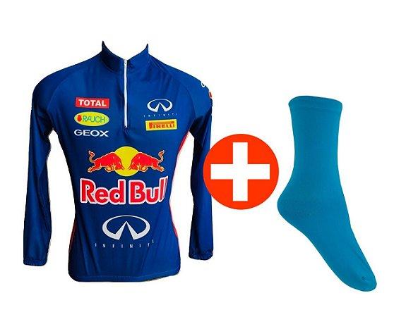 Kit Camisa de Ciclismo MTB Red Bull e Meia