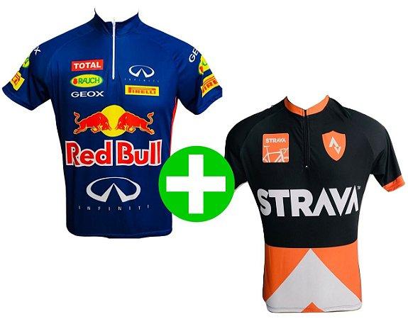 Kit Camisas de Ciclismo MTB Red Bull e Strava
