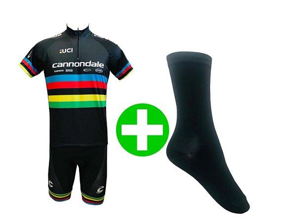 Kit Conjunto Ciclismo Bermuda e Camisa Cannondale UCI e Meia