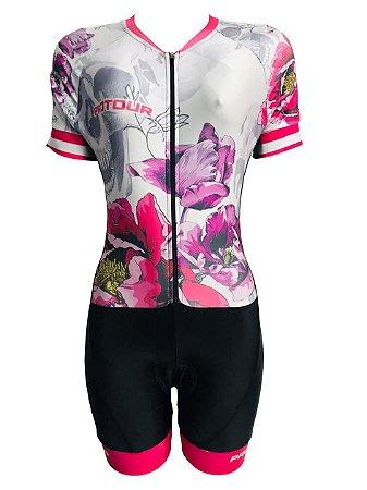 Macaquinho Ciclismo Feminino PRO TOUR Caveiras Flores Forro em GEL
