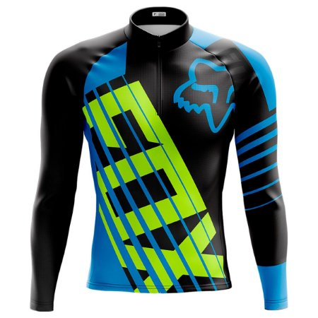 Camisa ciclismo manga longa masculina FOX tecido dry fit proteção uv+50
