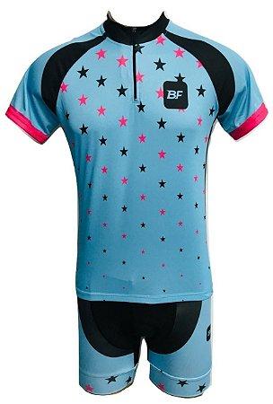 Conjunto Ciclismo Feminino Bermuda e Camisa Estrelinhas