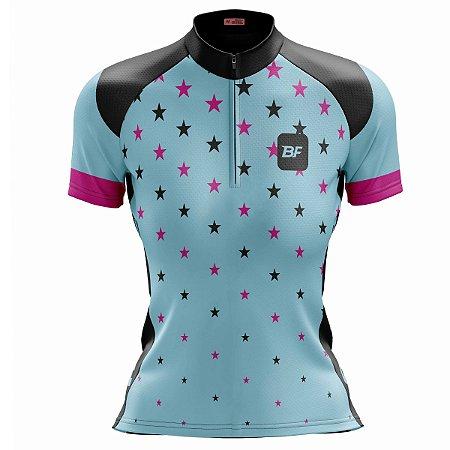 Camisa Ciclismo Moutain Bike Feminina Estrelinhas Azul
