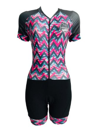 Macaquinho Ciclismo Feminino PRO TOUR Zig Zag Rosa Forro em GEL