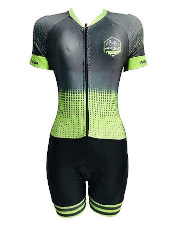 Macaquinho Ciclismo Feminino PRO TOUR Verde Plus Forro em GEL