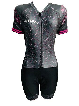 Macaquinho Ciclismo Feminino PRO TOUR Giz Rosa Forro em GEL