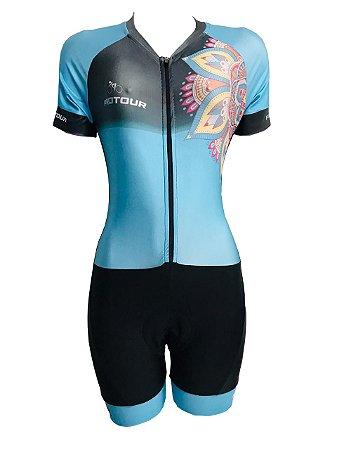 Macaquinho Ciclismo Feminino PRO TOUR Mandala Azul Forro em GEL