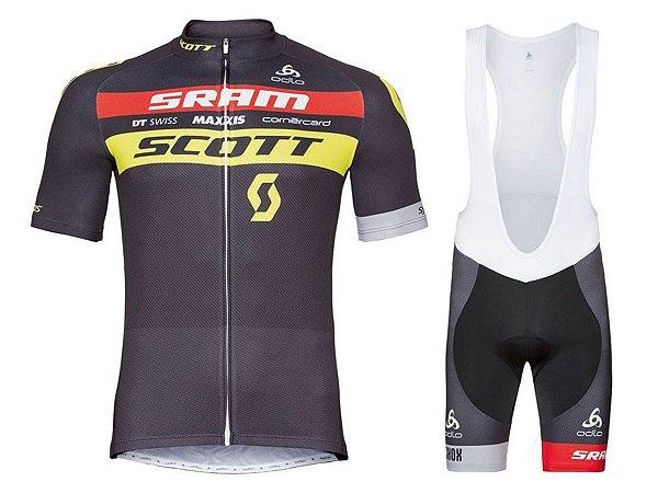 Conjunto Ciclismo Bretelle e Camisa Scott Sram