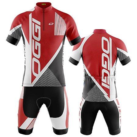 Conjunto Ciclismo Bermuda e Camisa Oggi Vermelho