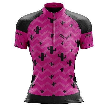 Camisa Ciclismo Mountain Bike Feminina Cacto Rosa