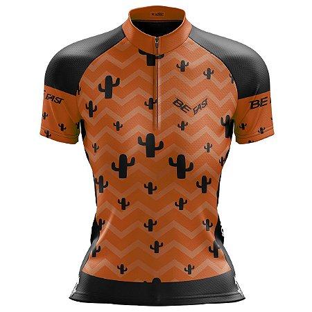 Camisa Ciclismo Mountain Bike Feminina Cacto Laranja