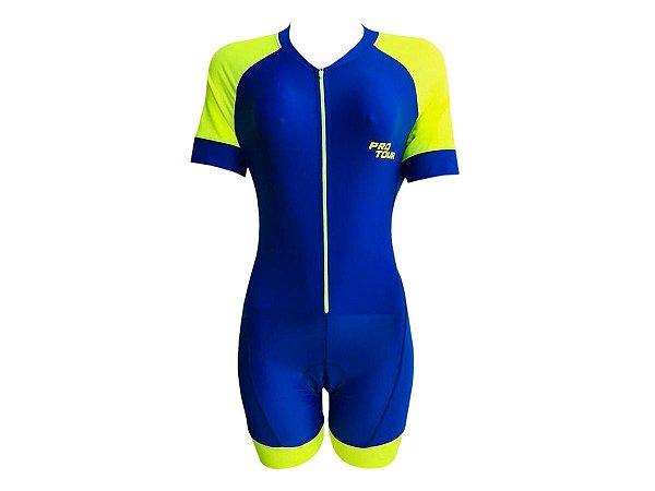 Macaquinho Ciclismo Feminino Classic Azul