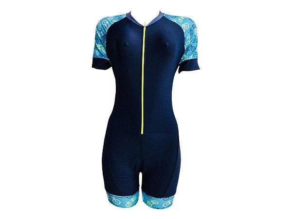 Macaquinho Ciclismo Feminino Classic Azul e Bikes