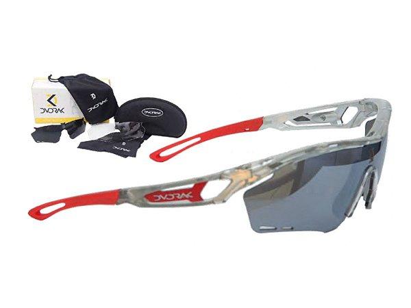 Óculos Ciclismo Mountain Bike Dvorak Cristal/Vermelho 3 Lentes