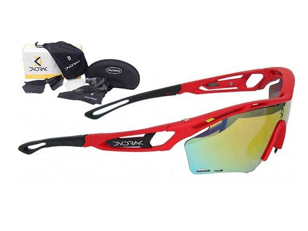 Óculos Ciclismo Mountain Bike Dvorak Vermelho 3 Lentes