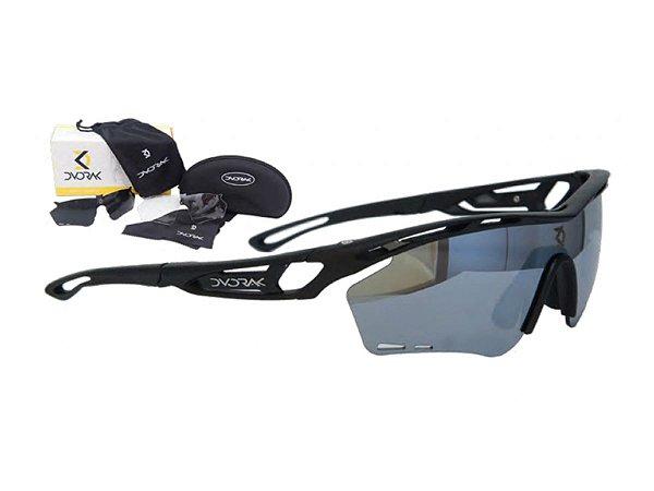 Óculos Ciclismo Mountain Bike Dvorak Preto Fosco 3 Lentes