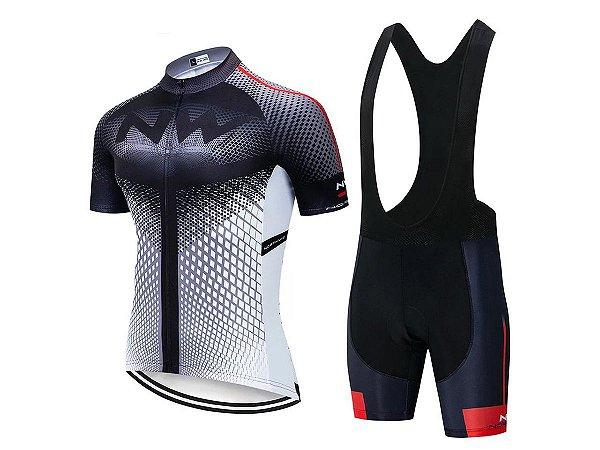 Conjunto Ciclismo Bretelle e Camisa Northwave Forro em Gel
