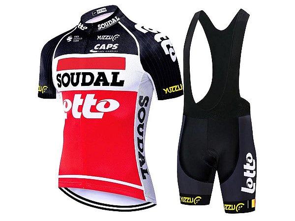 Conjunto Ciclismo Mountain Bike Bretelle e Camisa Lotto Forro em Gel