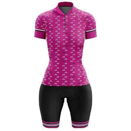 Conjunto Ciclismo Feminino Bermuda e Camisa Rosa Bikes